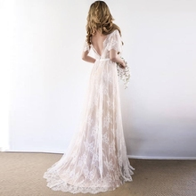 Boho Wedding Dress 2019 V Neck Short Sleeve Lace Beach Cheap Backless Custom Made Bride Dresses Gowns