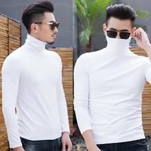 2018 New Elastic Mens Solid Warm T-Shirt Turtle Neck Long Sleeve Men Bottom T Shirt For Male Milk Fiber TShirt Business Man Tees