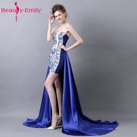 Beauty Emily Sexy Embroidery Mini Cocktail Party Prom Dresses 2017 Strapless Sleeve Prom Party Occasion Dance Dresses