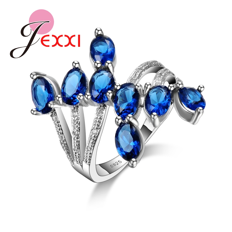 Unique Design  Fashion Royal Blue CZ 925 Sterling Silver Party Ring Luxury Wedding Engagement Rings Gift