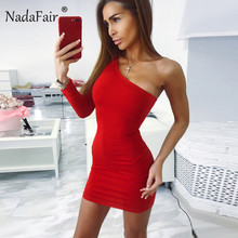 Nadafair One Shoulder Sexy Club Party Bodycon Dress Summer Women Long Sleeve Stretchy Black White Casual Wrap Mini Red