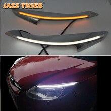 JAZZ TIGER 2PCS Car Headlight Decoration Yellow Turn Signal 12V DRL LED Daytime Running Light For Ford Focus 3 MK3 2012 - 2015