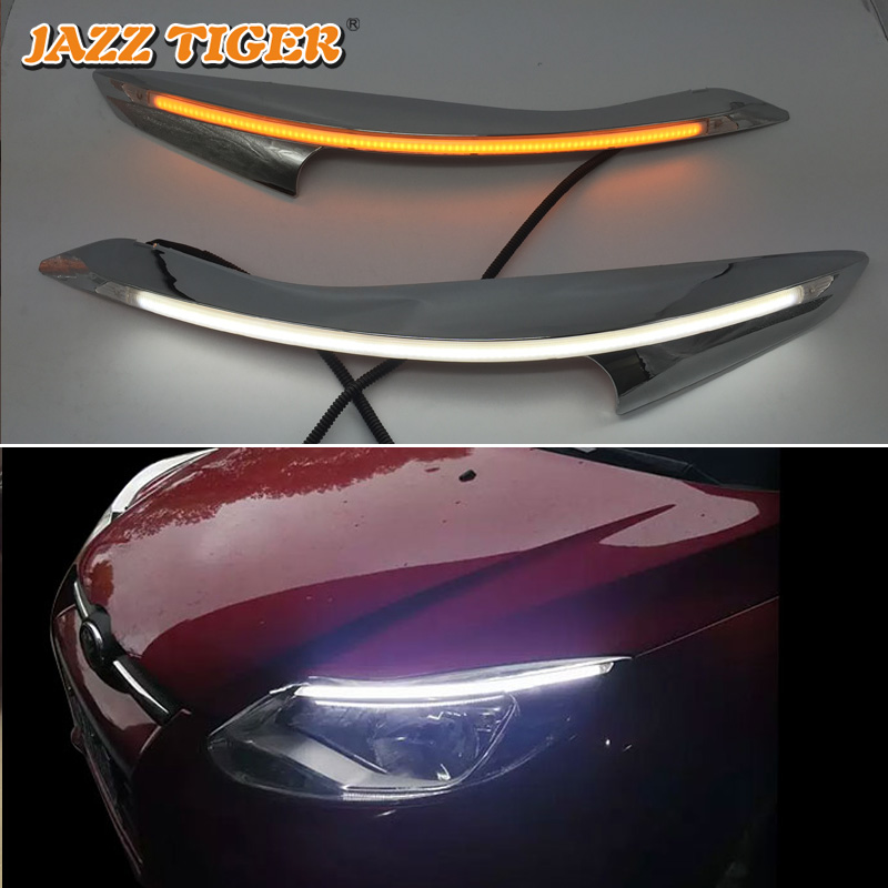 JAZZ TIGER 2PCS Car Headlight Decoration Yellow Turn Signal 12V DRL LED Daytime Running Light For Ford Focus 3 MK3 2012 2015