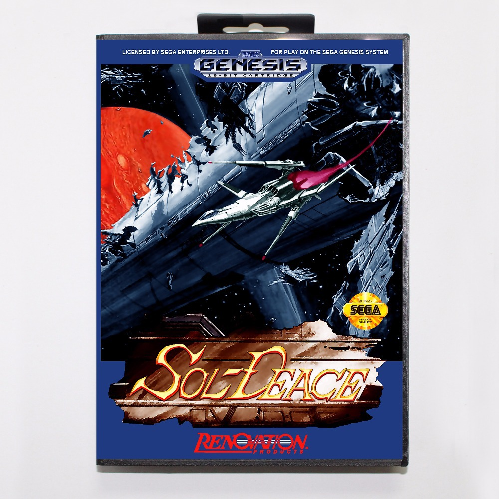 Sol Deace Game Cartridge 16 bit MD Game Card With Retail Box For Sega Mega Drive For Genesis
