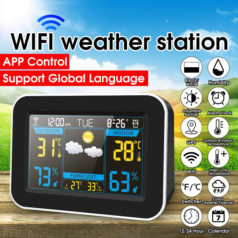Color WiFi Weather Station Thermometer Hygrometer Snooze Clock Sunrise Sunset LCD Screen Display APP Control Global Language image