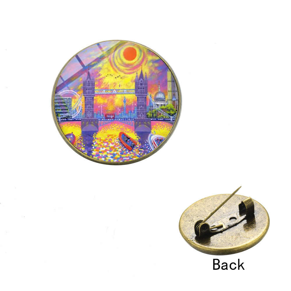 SONGDA Hippie London Double Decker Bus Metal Brooches Cartoon Pattern Big Ben I Love London Travel Life Glass Badges Clothes Pin