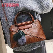 Women Totes Handbag With Hairball Patchwork Leather Party Female Bag torebki damskie Messenger Crossbody Ladies Shoulder Bags