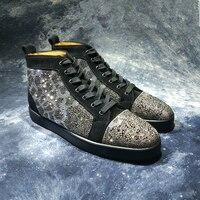 Роскошный Дизайн Кристалл Высокое качество Черный Леопард Повседневное Мужская обувь Новый Мужская обувь модные мужские кроссовки 9908 с вы