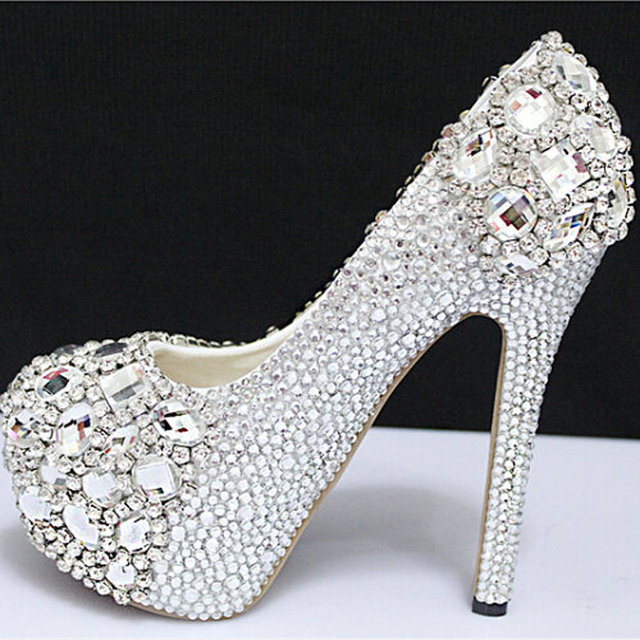 Women Sliver Rhinestone Wedding Shoes Platform Pumps High Heels Shoes Woman  Birthday Crystal Sapatos Femininos Free Shipping 64a7fddf45ab