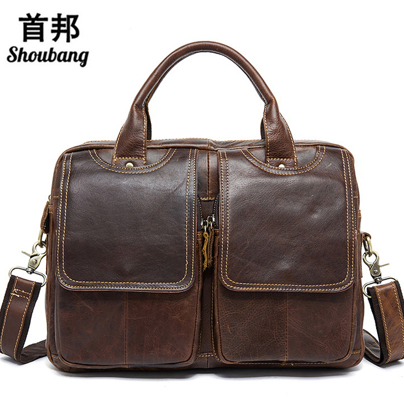 Men's Briefcase Leather Laptop Bag 14'' Genuine Leather Men Bag Men Messenger Shoulder Bags Men's Crossbody Bags Handbags3309 men genuine leather bag messenger bag man crossbody large shoulder bag business tote briefcase brand handbags laptop briefcase