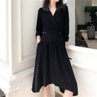 Fashion black dress female spring New high quality Loose v neck high waist irregular minimalist pocket design dress women