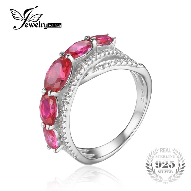 JewelryPalace 3.2ct Oval Created Red Ruby Cross-Over Wedding Ring 925 Sterling Silver Fine Jewelry For Women 2017 New Arrival