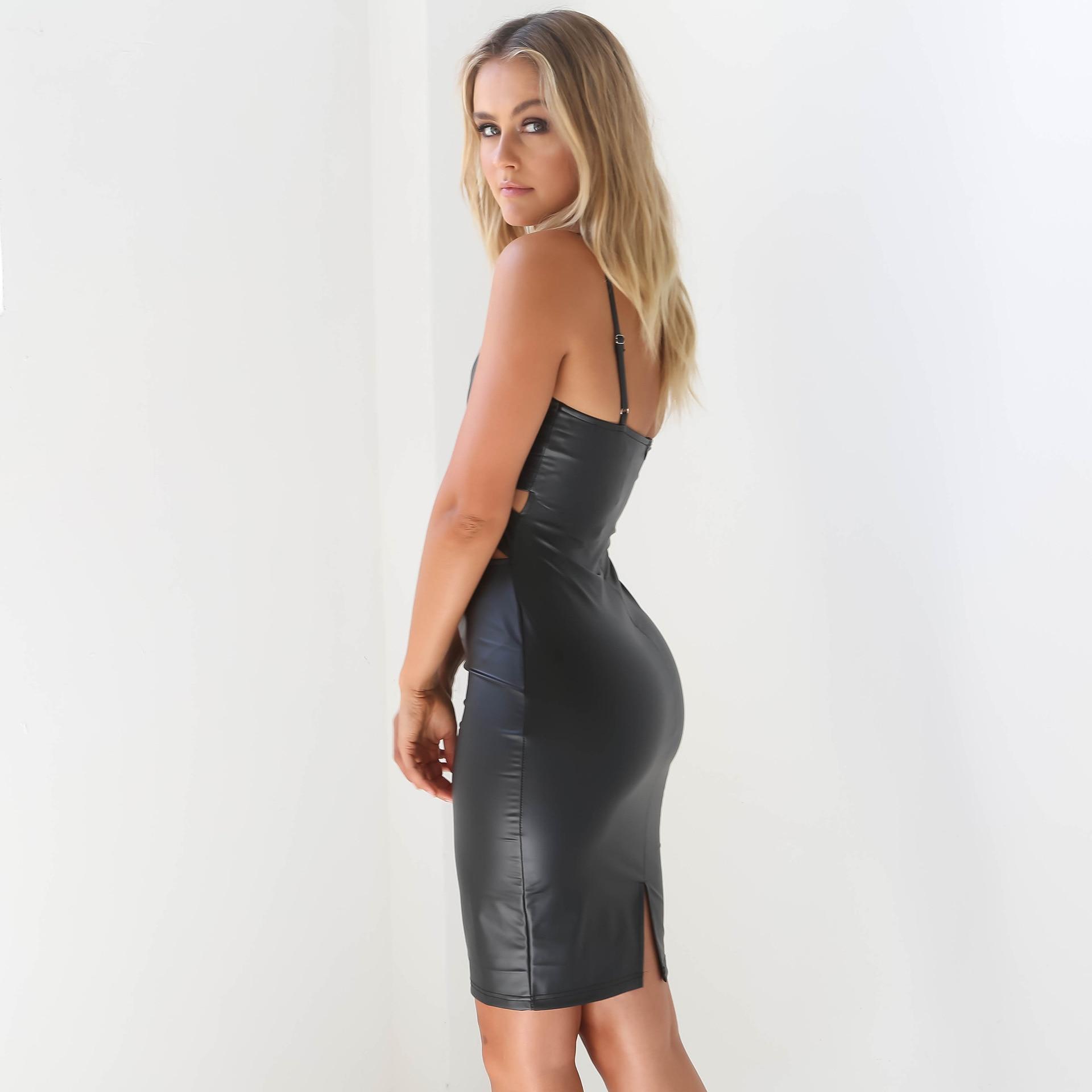 Tissu Low Empire Pad Pur Poitrine Noir Dress Ventre Afficher Cut Très Spandex Mélange Pu Taille Sexy Crayon U5CwxqnRz