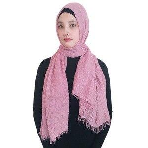 Image 3 - 10 sztuk/partia wysokiej jakości zwykłe kolory marszczone bańki szalik szal z frędzlami muzułmańskie hidżab głowy Wrap duży rozmiar