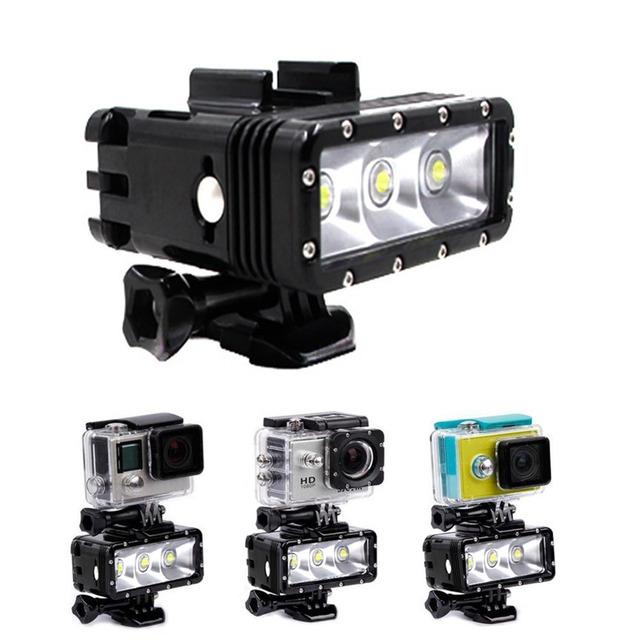 Bateria dupla 30 m subaquática à prova d' água pode ser escurecido levou luz do flash para gopro hero 1/2/3/3 +/4 para xiaoyi