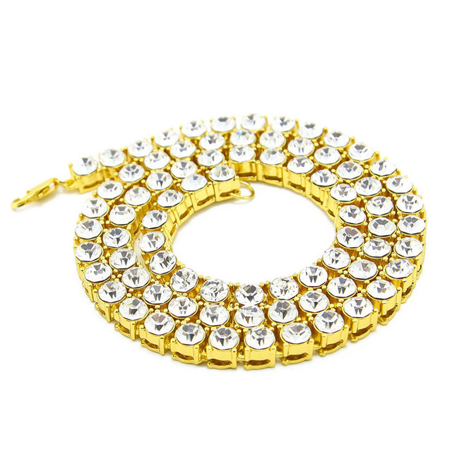 Best Price men women Hip Hop Gold Chain 5mm Rounded Tennis 20-36 inch  Punk Iced Out Rhinestone Chain Necklace 81#1809152510