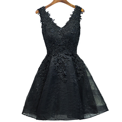 Sexy Black   Cocktail     Dress   A Line Lace V Neck Mini Short Appliques Beaded Girls Formal Party Gowns Lace Up Cheap Prom   Dress   2019