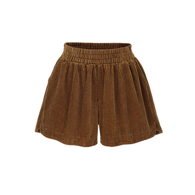 Hot Sale autumn and winter straight women loose plus size xl-5xl Corduroy elastic waist women fashion slim shorts