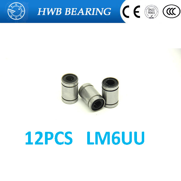 Free Shipping 12pcs/lot LM6UU 6mm 6x12x19mm Bush Bushing 6*12*19mm CNC Linear Bearings  for  for 3D printer parts 6mm linear rod