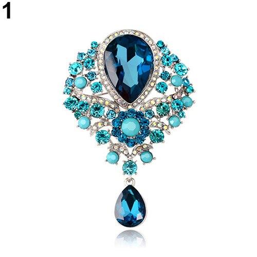 Женская Мода Роскошные Tear Drop кулон горный хрусталь свадебное Коктейль  брошь Булавки 1595a1064d5