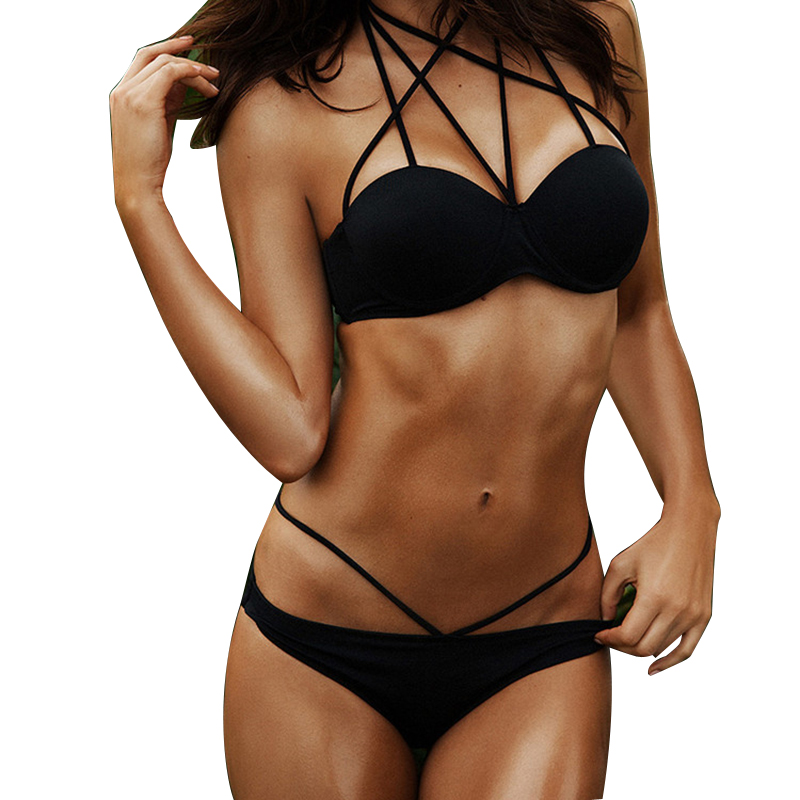New Women Push Up Sexy Bikini Set Halter Underwire Top Swimsuit Girl Low Waist Ties Swimwear String Bating Suit Biquini S6011 1