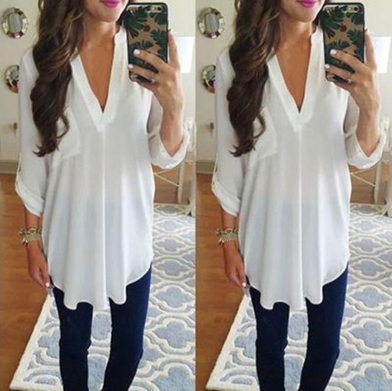 2018 Hot Chiffon Shirt Long-sleeved V-neck Top Large Size Top White  Female Brand Clothing Blouse Top Tee Plus Size 5XL