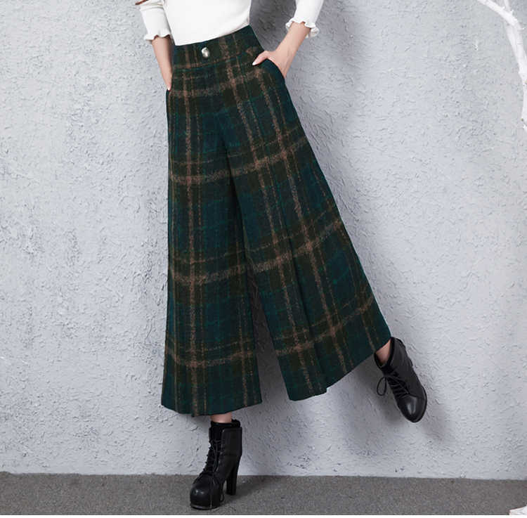 New Winter Vintage Green Plaid Wool Wide-legged Pants Vintage High Waisted Casual Women Pajama Pants