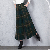 New Winter Vintage Green Plaid Wool Wide legged Pants Vintage High Waisted Casual Women Pajama Pants