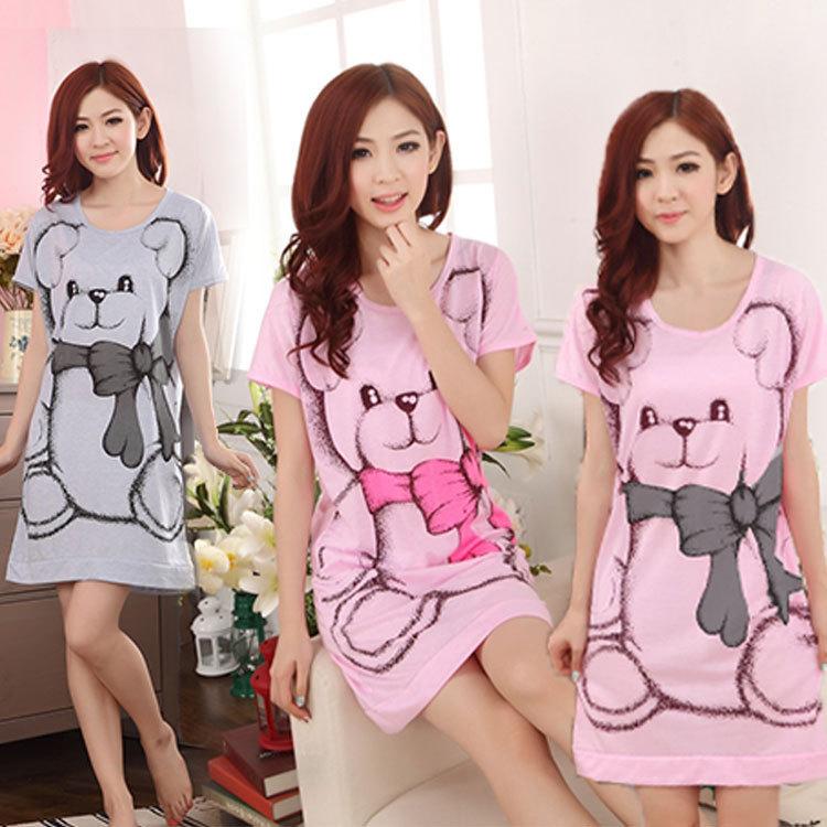 Hot Sale SUmmer Womens Girls Nightgowns Short Sleeve Dress Cute Cartoon Bowtie Bear Printed Sleepwear Round Neck Large Size