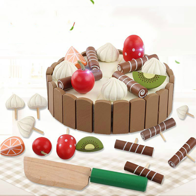 Mini Cake Children's Cut Play Cute Wooden Invisible Magnetic Emulate Toy Baby House Play Toy Best Gift For Children