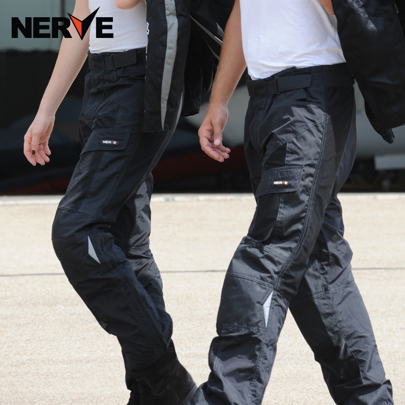 Brand NERVE Motorcycle Protective Riding Pants men&women Motocross Leisure his-and-hers Wear-resisting Trousers with Protectors  brand nerve motorcycle riding breathable raincoat and pants for men and women free shipping summer waterproof suit rain coat