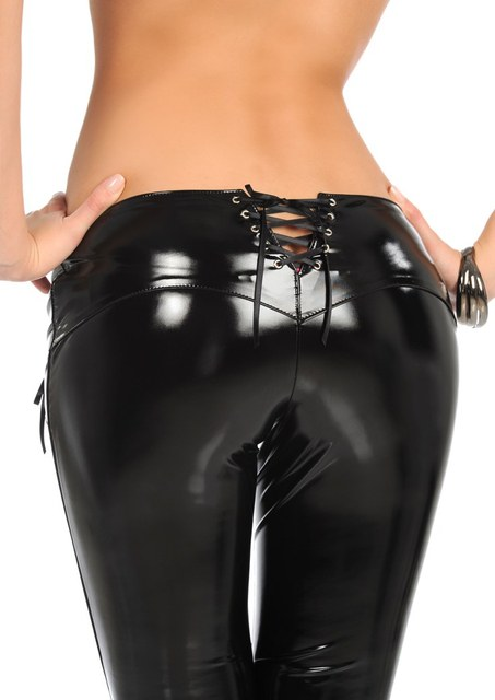 New Sexy Latex Pencil Pants Faux MAT Leather Pants Low Waist Bandage Zipper Crotch Detail Slim Fashion Club Dance wear XXL