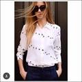 Новые EQ 100% шелк дикий гусь печати дамы с длинным рукавом блузки Оборудование женщины рубашка спринт осень