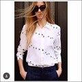 Newest EQ 100% silk wild goose print ladies long sleeve blouses Equipment women shirt sprint autumn