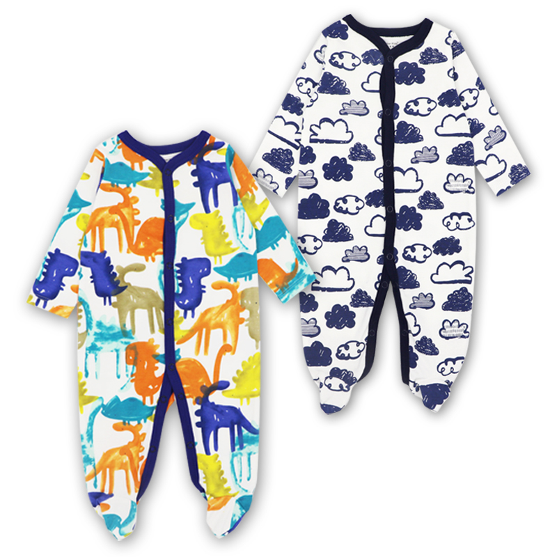 Image 2 - Newborn Baby Boys Girls Sleepers Pajamas Babies Jumpsuits 2 PCS/lot Infant Long Sleeve 0 3 6 9 12 Months Clothes-in Blanket Sleepers from Mother & Kids