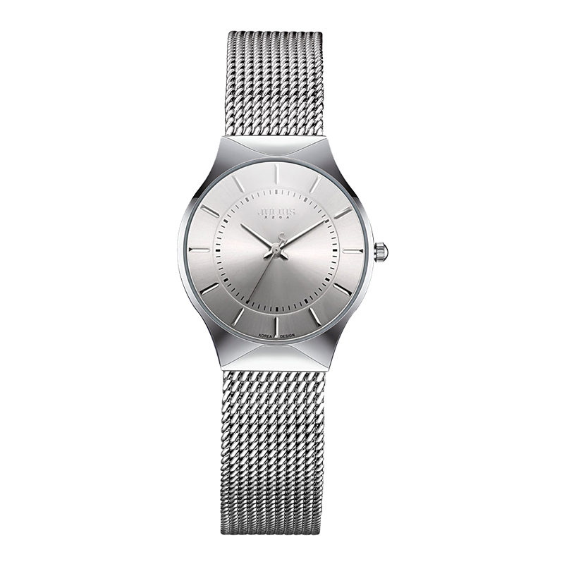 JULIUS JA-577 Ms. Ultra-thin Silver Black Men's Mesh Stainless Steel Quartz Analog Casual Watch Women's Watch Clock