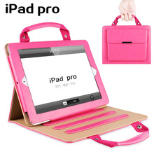 New For Apple Tablet PC pro 9.7 handbag shape Auto Wake Up Sleep Flip Leather Case For pad 3 pad 4 Cover with Smart Stand Holder