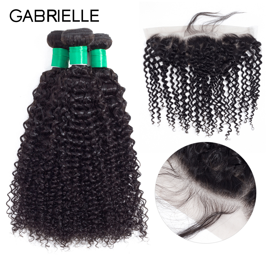 Gabrielle Peruvian Human Hair with Frontal Kinky Curly Natural Black Color Non-remy Hair Weave 3 Bundles with 13x4 Lace Frontal