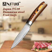 XITUO High quality utility knife 3.5inch Kitchen Japanese VG10 73 layer Damascus steel paring with wood handle gift