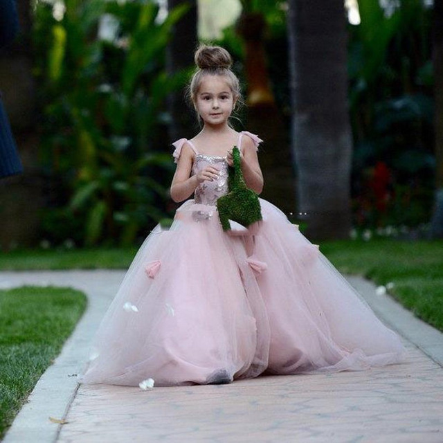 Pink 2019 Flower Girl Dresses For Weddings Ball Gown Spaghetti Straps Tulle Baby Long First Communion Dresses For Little Girls