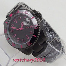 цена 40mm Bliger Black Sterile Dial PVD Coated Sapphire Glass Date Top Brand Luxury Automatic Movement men's Watch онлайн в 2017 году
