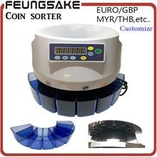 Clasificador de monedas electrónico SE-800 máquina para contar monedas para la mayoría de los países Euro GBP MYR THB etc, clasificación de monedas andwrapping tubería