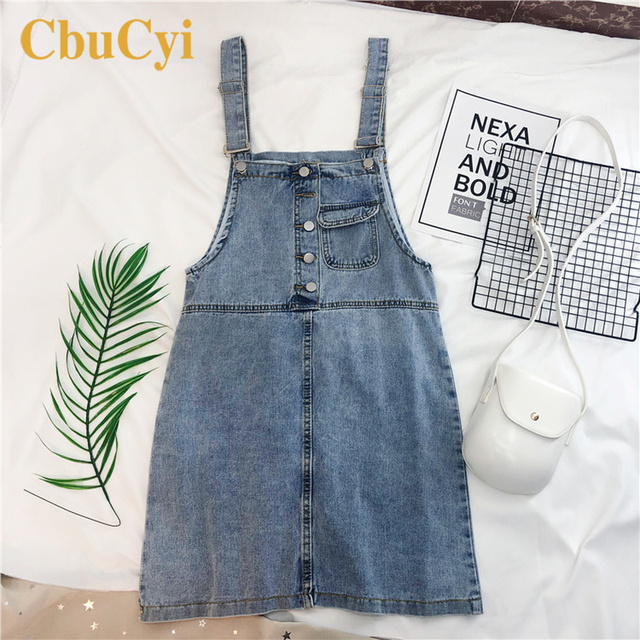 Mujeres verano vendaje Vestidos imperio correas Vintage Denim overol Vestidos mujeres Casual vestido de tirantes Mini Jeans Vestidos