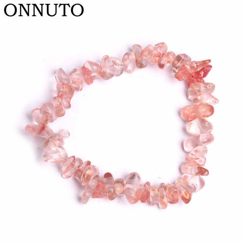 Handmade Stretch Crystal Chip Bracelet Gravel Bracelet Irregular Natural Stone Charm with Elastic Rope Gift For Women