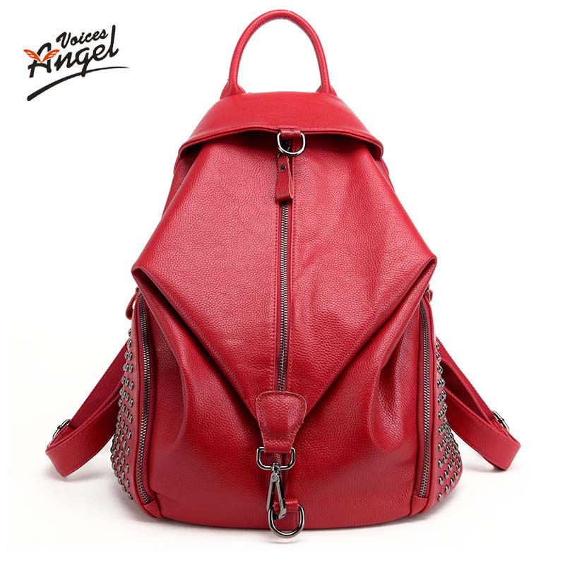 Angel Voices Fashion Women Backpack Youth Genuine Leather Backpacks for Teenage Girls Female School Shoulder Bag Bagpack Mochila