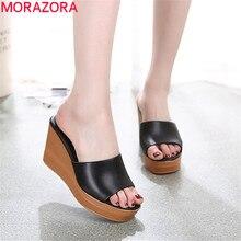 MORAZORA 2020 top qualité en cuir véritable sandales femmes mode compensées plate forme sandales été fête chaussures de bal femme pantoufle