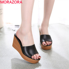Morazora 2020 最高品質の本革サンダルの女性のファッションウェッジプラットフォームサンダルサマーパーティーウエディング靴女性のスリッパ