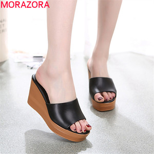 Image 1 - Morazora 2020 最高品質の本革サンダルの女性のファッションウェッジプラットフォームサンダルサマーパーティーウエディング靴女性のスリッパ