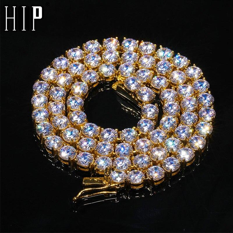HIP HOP 4/5/6MM 46CM Bling glacé en acier inoxydable Zircon chaîne de Tennis charme Long lien chaîne collier pour hommes bijoux