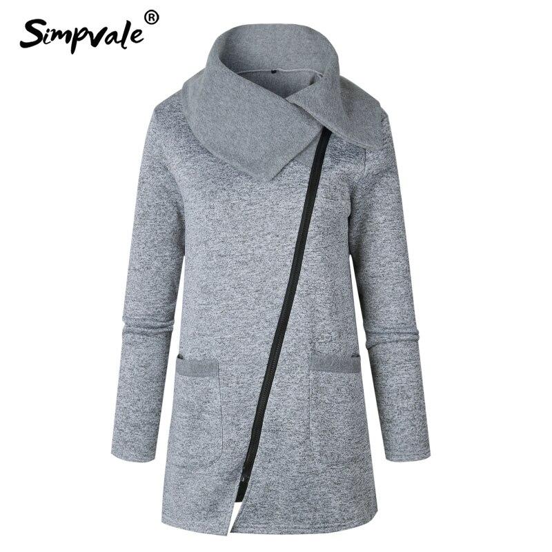 Simpvale Диагональ молния Fly хлопок и шерсть пальто Для женщин большой отложной воротник теплые пальто женские Демисезонный модные пальто S ~ 5XL